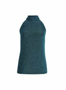 Womens Teal Shimmer Halterneck Top- Blue, Blue
