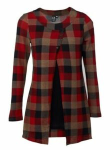Womens *Izabel London Multi Colour Check Print Split Front Top- Red, Red