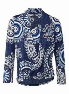 Womens Izabel London Blue Circle Print Wrap Top, Blue