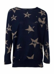 Womens *Izabel London Star Print Knitted Jumper- Navy, Navy