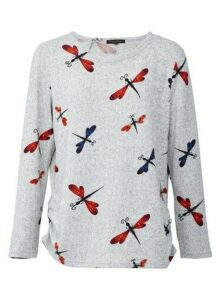 Womens *Izabel London Grey Dragonfly Knitted Jumper, Grey