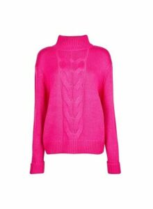 Womens **Tall Fuschia Chunky Neck Jumper- Pink, Pink