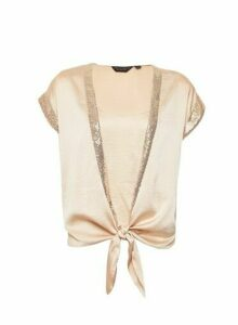 Womens Champagne Sequin 2-In-1 Top - White, White