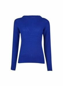 Womens Petite Cobalt Ribbed Stitch Jumper- Blue, Blue