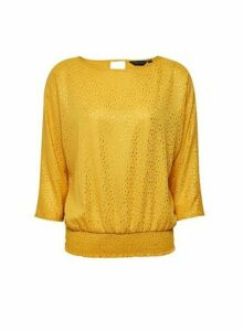 Womens Yellow Shirred Hem 3/4 Sleeve Top- Orange, Orange