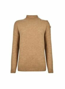Womens Camel Button Shoulder Jumper- Brown, Brown