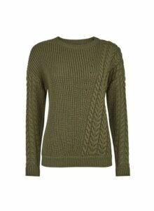 Womens Breast Cancer Care Khaki Diagonal Cable Jumper, Khaki
