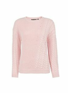 Womens Blush Diagonal Cable Jumper- Pink, Pink