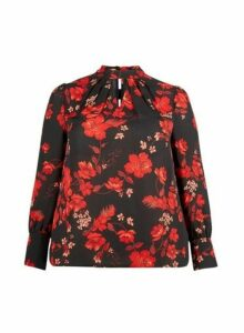 Womens **Curve Red Floral Print Honey Top, Red