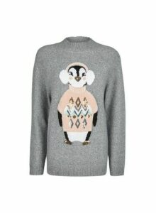 Womens **Tall Grey Cosy Penguin Jumper, Grey