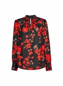 Womens **Tall Red Floral Print Honey Top, Red