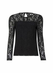 Womens Black Puff Sleeve Lace Top, Black