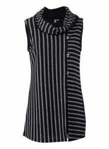Womens *Izabel London Multi Colour Striped Split Front Top- Black, Black