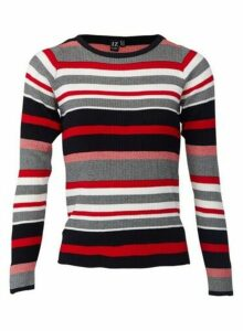 Womens *Izabel London Multi Colour Striped Knitted Jumper- Red, Red