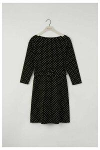 Womens Warehouse Black Polka Dot Slash Neck Dress -  Black