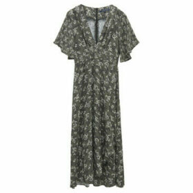 French Connection  Long dress printed with volant  women's Long Dress in Green