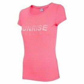 4F  H4L19 TSD015 Różowy Melanż  women's T shirt in Pink