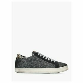 P448 F9 John Lace Up Glitter Trainers, Dark Green