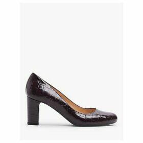 L.K.Bennett Sersha Block Heeled Court Shoes, Croc Burgundy