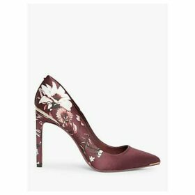 Ted Baker Malenii Floral Stiletto Heel Court Shoes, Red Bordeaux