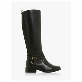 Dune True Wide Fit Leather Buckle Knee High Boots, Black
