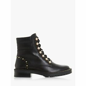 Dune Pearley Pearl Embellished Leather Hiker Boots, Black
