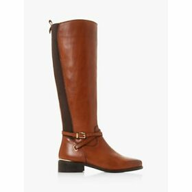 Dune True Leather Buckle Knee High Boots, Tan