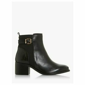 Dune Wide Fit Poetic Leather Buckle Block Heel Ankle Boots, Black