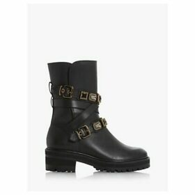 Dune Reecie Jewel Strap Leather Biker Boots, Black