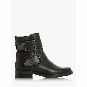 Dune Qualify Embellished Buckle Leather Ankle Boots, Black