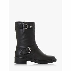 Dune Raffle Leather Buckle Calf Boots, Black