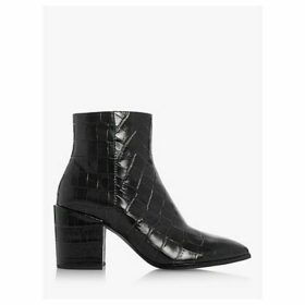 Dune Optimum Croc-Effect Pointed Toe Leather Ankle Boots, Black