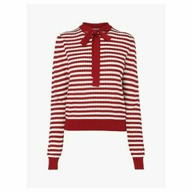L.K.Bennett Lottie Stripe Tie Neck Jumper, Ivory/Red