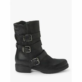 John Lewis & Partners Otter Buckle Leather Ankle Boots, Black
