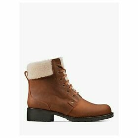 Clarks Orinoco Dusk Leather Lace Up Faux Fur Ankle Boots, Tan