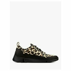 Clarks Tri Spark Leather Trainers, Black/Leopard