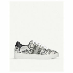 Luminous snake-print embellished faux-leather trainers