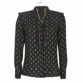 Maison Scotch  REGULAR FIT PRINTED SHIRT WITH RUFFLE DETAIL  women's Shirt in Black