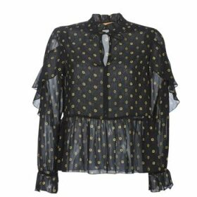 Maison Scotch  SHEER PRINTED TOP WITH RUFFLES  women's Blouse in Black