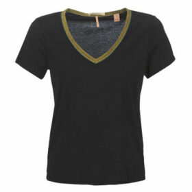 Maison Scotch  V-NECK TEE WITH VELVET NECK TAPE  women's Blouse in Black