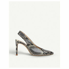 Ilana snakeskin-effect leather slingback courts