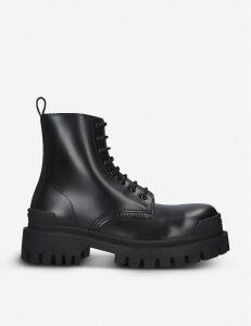 Strike leather platform ankle boots