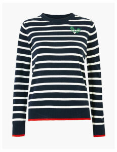 M&S Collection Striped Holly Embellished Christmas Jumper
