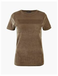 M&S Collection Velvet Textured T-shirt