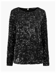 M&S Collection Sequin Long Sleeve Top