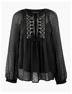 M&S Collection Embroidered Bib Front Blouse