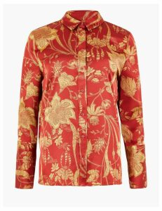 M&S Collection Satin Floral Print Shirt