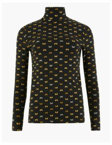 M&S Collection Cotton Rich Butterfly Print Long Sleeve Top