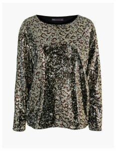 M&S Collection Animal Print Sequin Long Sleeve Top