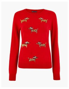 M&S Collection Embellished Dog Christmas Jumper